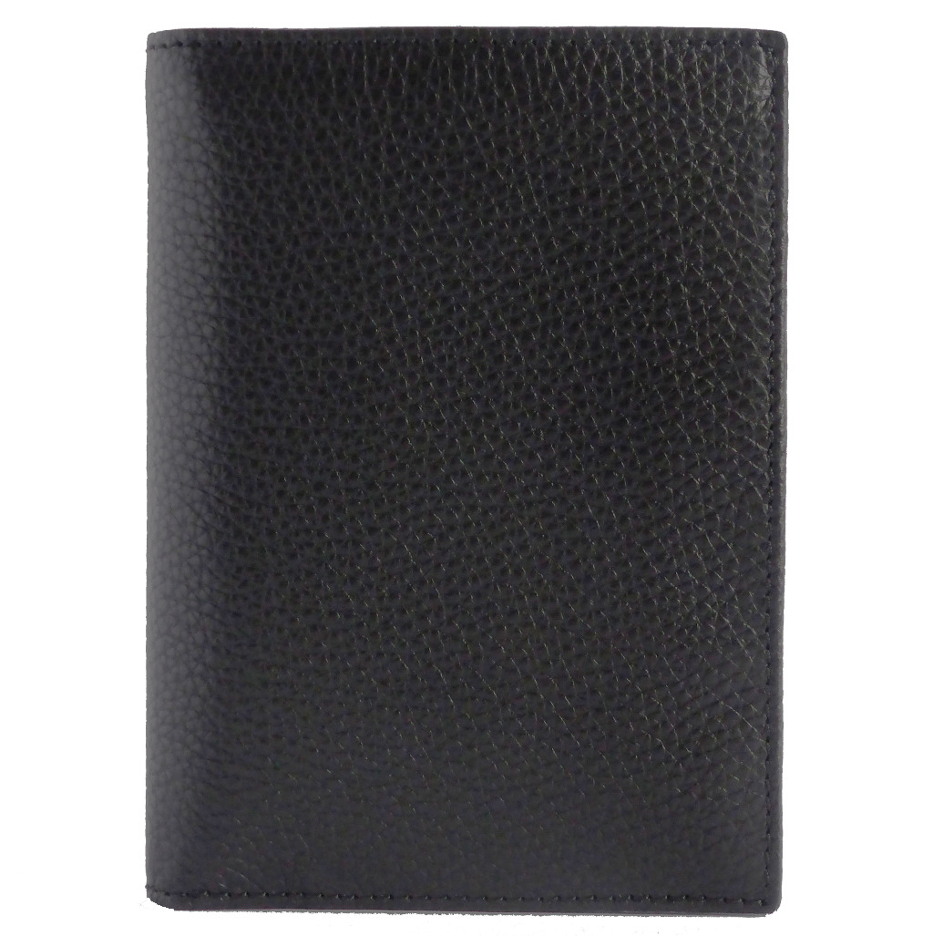 8 CC Grained Calf Leather Pocket Billfold Black-Mens Wallets-72 Smalldive