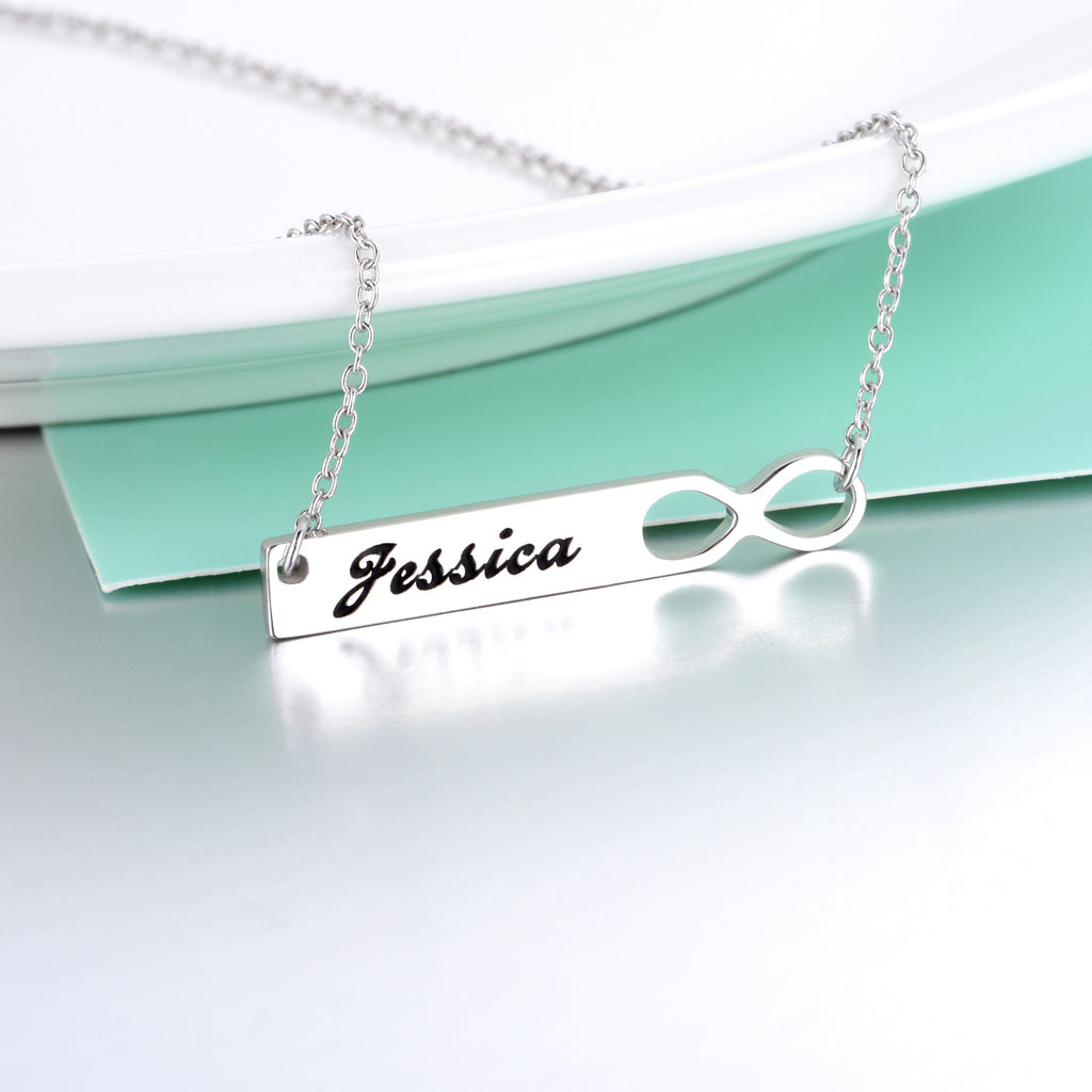 "Infinity Copper/925 Sterling Silver Personalized  Engravable  Bar Necklace-Adjustable 16""-20"""