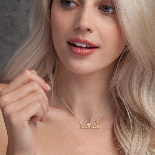 """Caroline""Style 10K/14k Gold Swarovski Inlay Name Necklace Adjustable Chain - White Gold/Yellow Gold/Rose Gold"