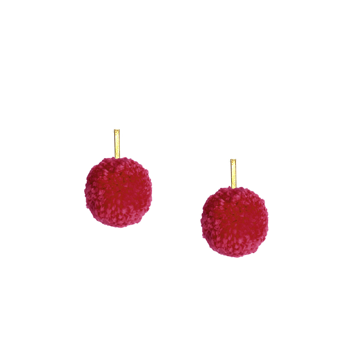 "Cranberry 1"" Yarn Pom Pom Stud Earrings, Earrings, Tuleste, Tuleste"