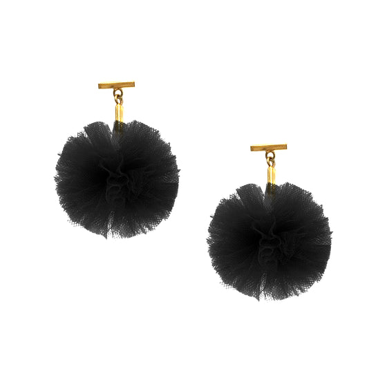 "Black 1"" Tulle Pom Pom T Stud Earrings, Earrings, Tuleste, Tuleste"