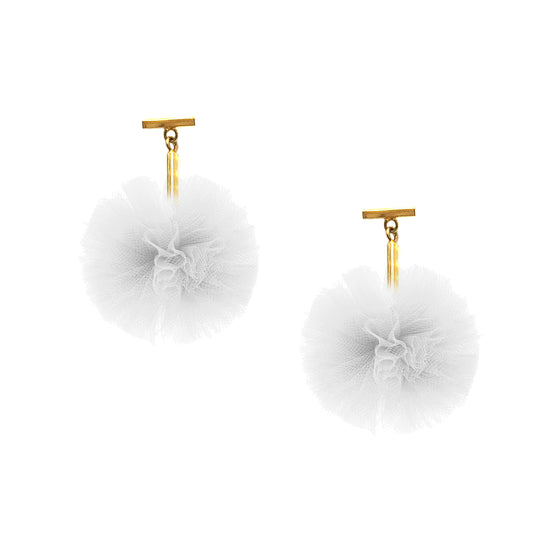 "White 1"" Tulle Pom Pom T Stud Earrings"