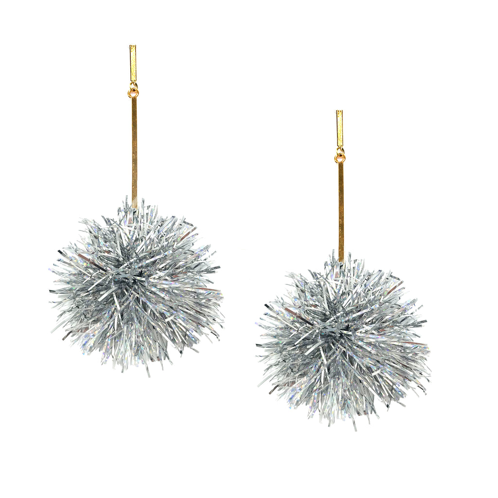 "2"" Silver Lurex Pom Pom Earrings, Earrings, Tuleste, Tuleste"