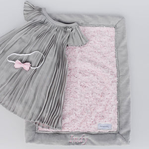 Light Pink Swirl Gray Lush Mini Blanket
