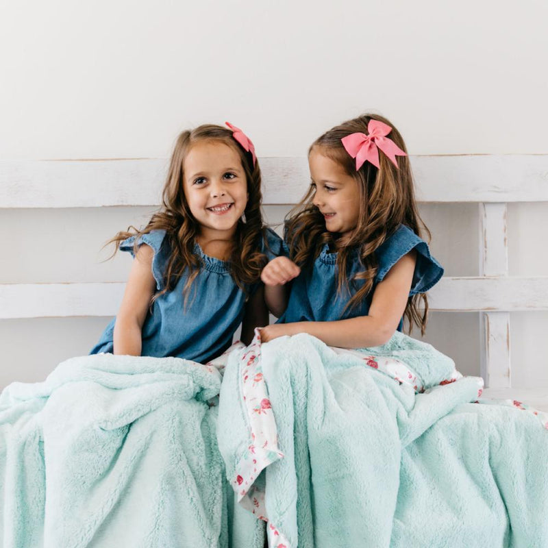 Mint Pastel Floral Satin Border Toddler to Teen Blanket