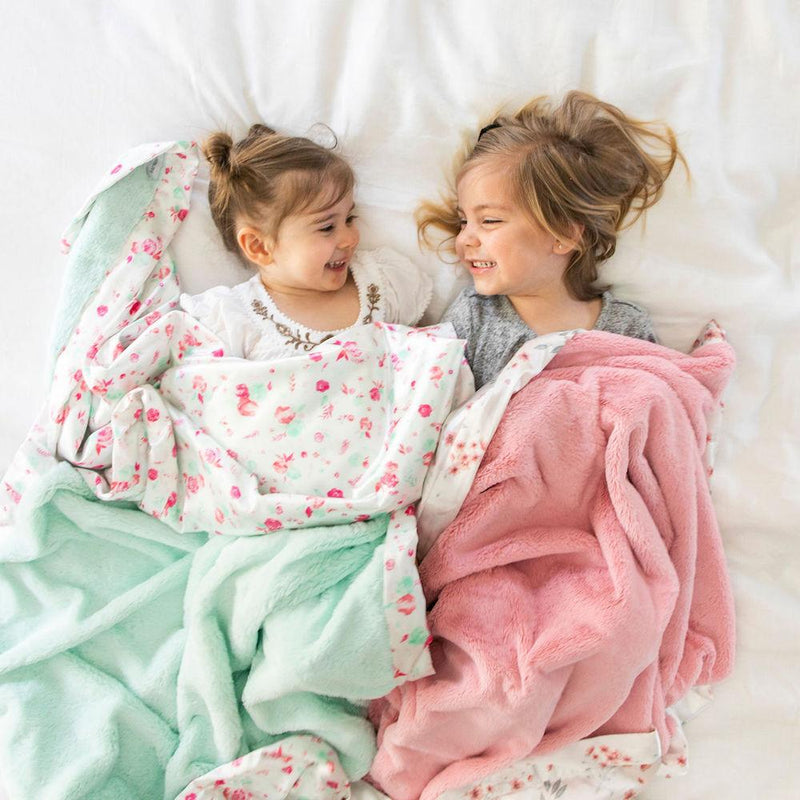 Mint Pastel Floral Satin Back Toddler to Teen Blanket