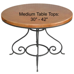 "Medium (30""- 42"") Round Copper Table Top Hand Hammered (Lookup Table)"