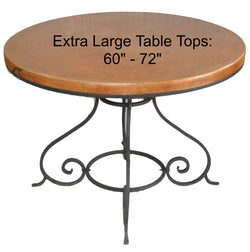 "Extra Large (60""- 72"") Round Copper Table Top Hand Hammered (Lookup Table)"