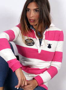 Polo Rugby White Stripes and Roses Vrouw