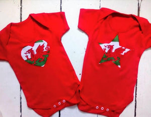 Wales Heart or Star Embroidered Onesie