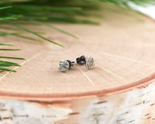 Hammered Flat Round Stud Earrings in Sterling Silver