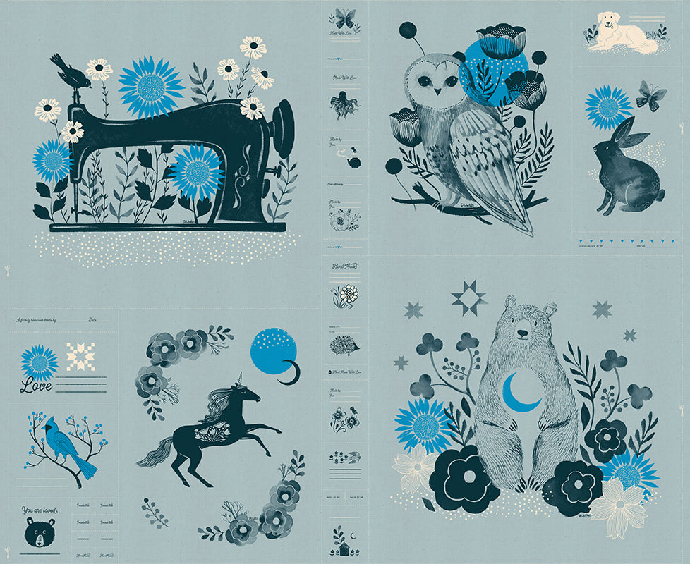 "This listing is for one (1) panel.  Panel measures 36"" x 44""  Manufacturer: Ruby Star Society Designer: Sarah Watts Collection: Crescent & Brushed Print Name: Novelty Forest Panel Light Blue Material: 100% Cotton  Weight: Quilting  SKU: 52001-14 Width: 44 inches"