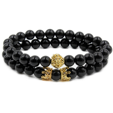 Lion & Crown Beaded Bracelet Set
