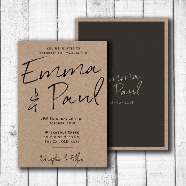 Black Handwriting on Kraft Card Invitation