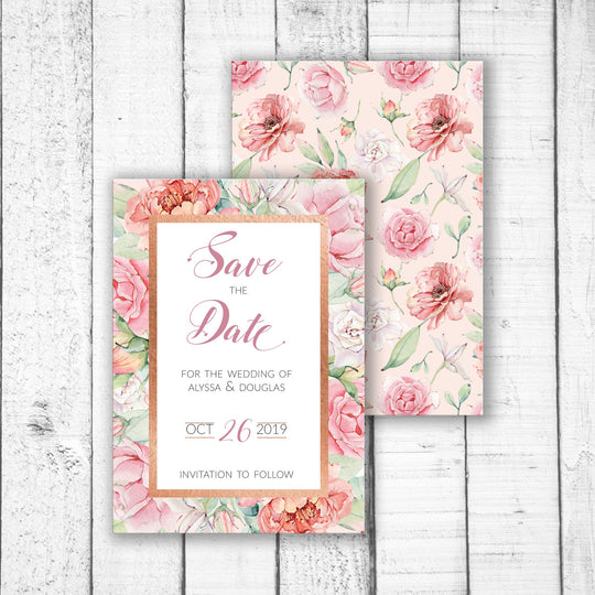 Pastel Roses & Rose Gold Save the Date
