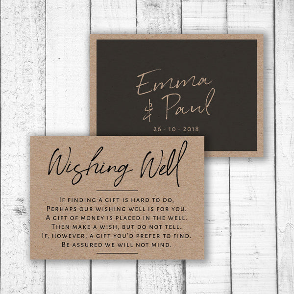 Black Handwriting on Kraft Wishing Well Card