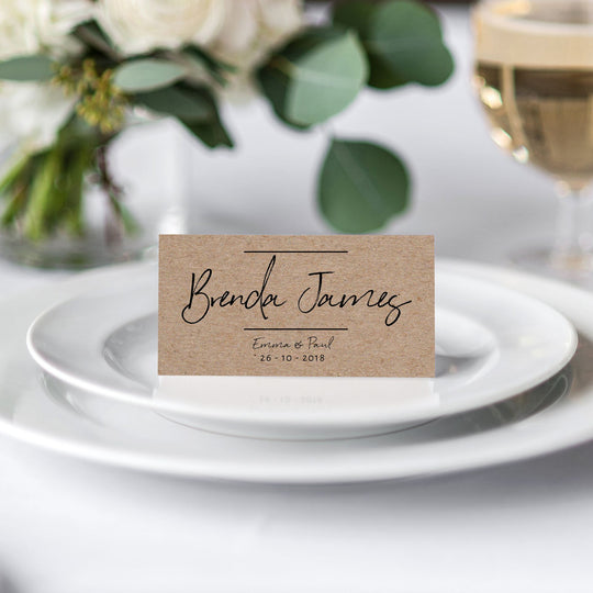 Black Handwriting on Kraft Place Card