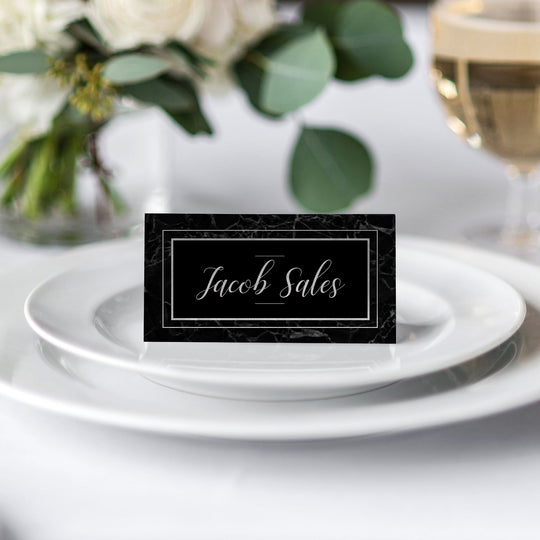 Classic Black Marble Place Card
