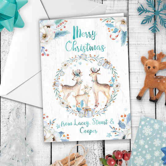 Custom Family Name Christmas Card - Deer Family