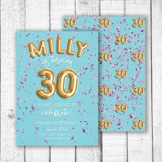 Foil Balloon & Confetti Birthday Invitation