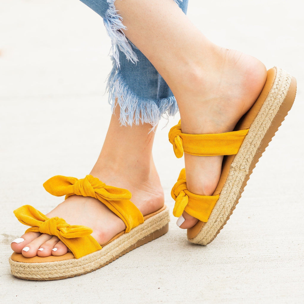 Womens Bow Tie Espadrille Flatform Slip-On Sandals - Bamboo Shoes