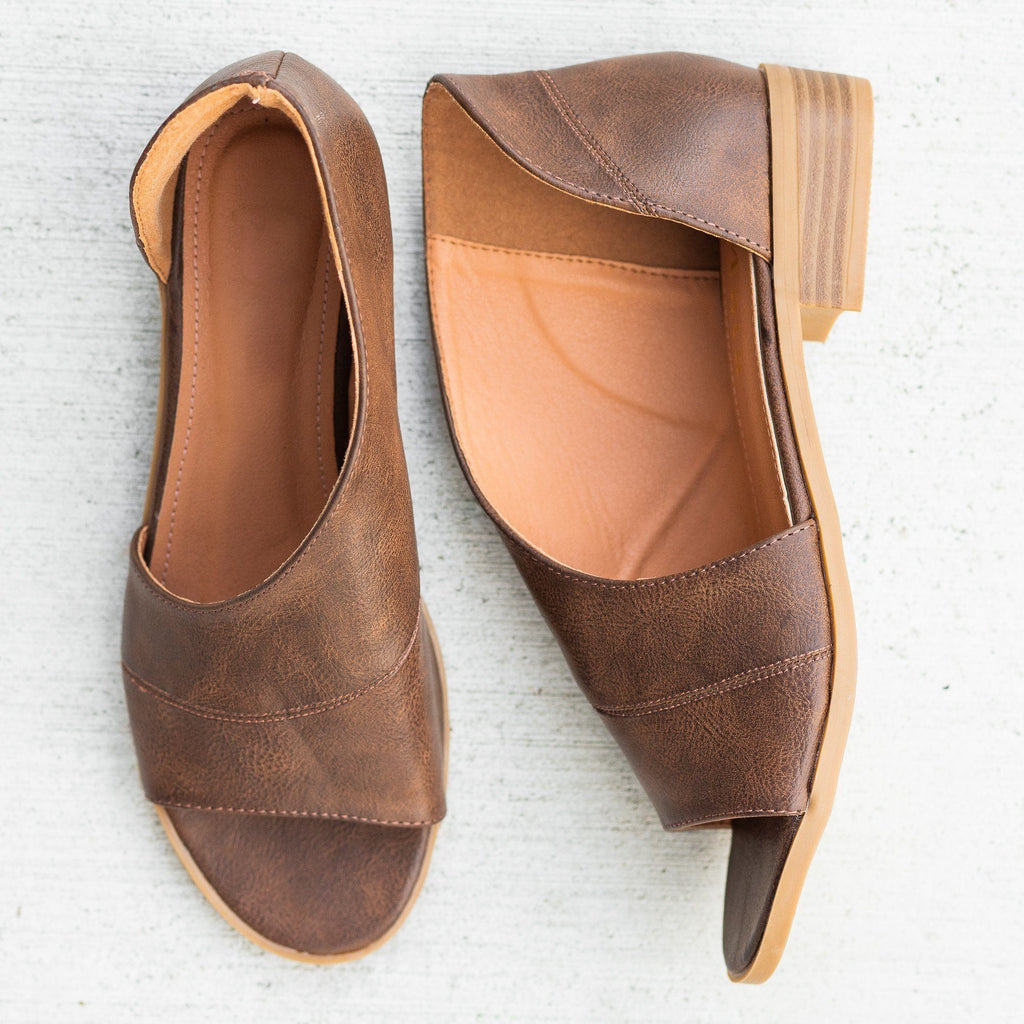 Womens Open-Toe Cutout Designer Flats - Mata - Brown / 5