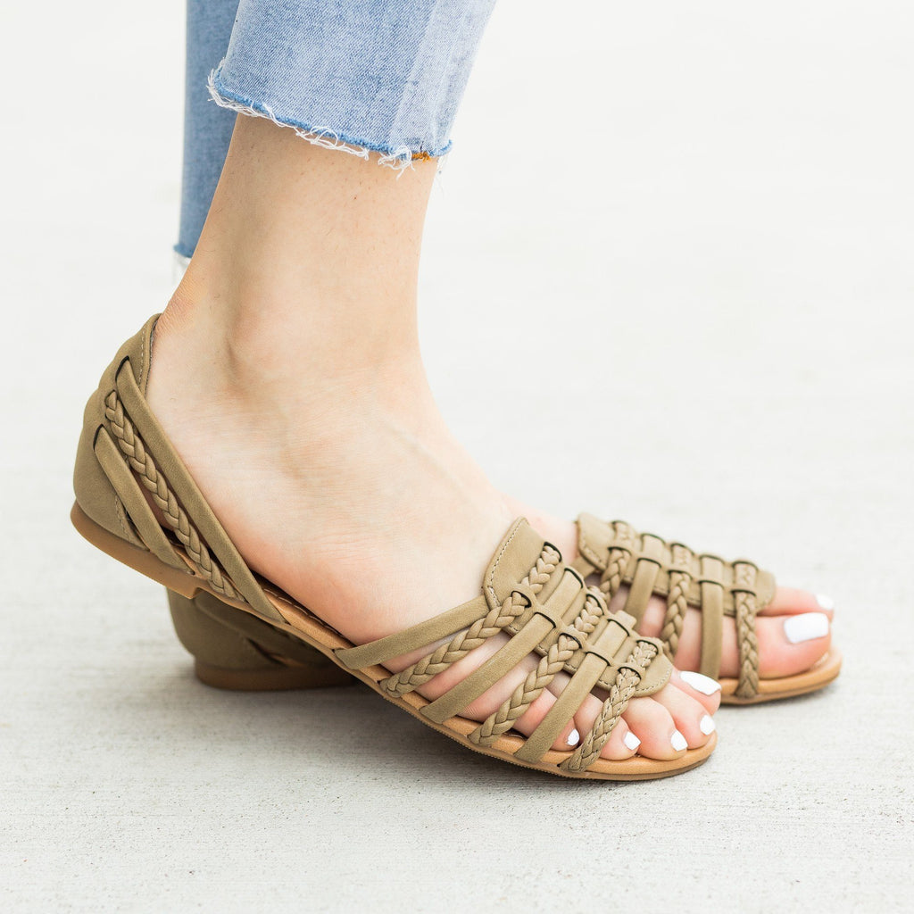 Womens Open-Toe Huarache Style Sandal Flats - City Classified Shoes