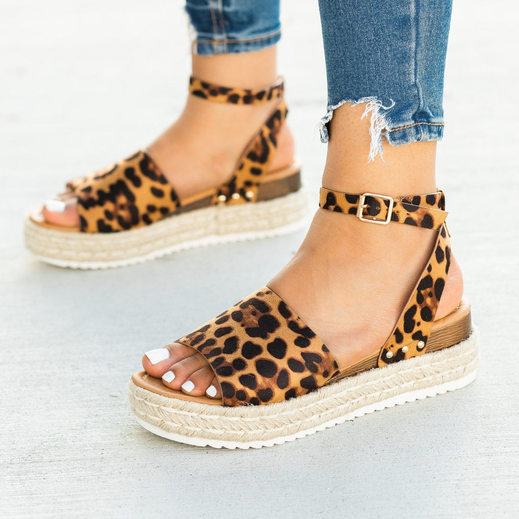 Womens Open-Toed Espadrille Flatform Sandal Wedges - Soho Girls