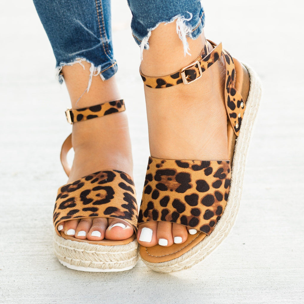 Womens Open-Toed Espadrille Flatform Sandal Wedges - Soho Girls - Leopard / 5