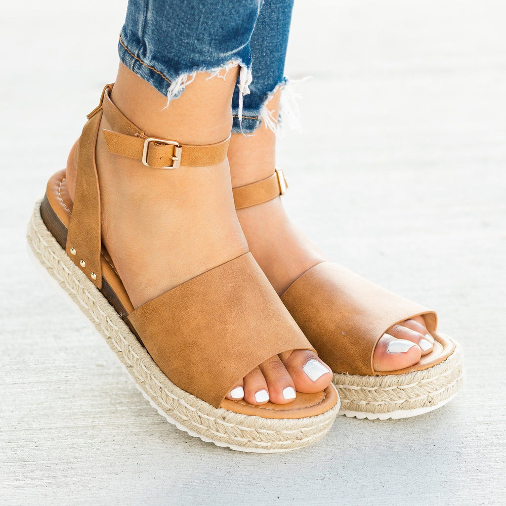 Womens Open-Toed Espadrille Flatform Sandal Wedges - Soho Girls - Dark Natural / 5