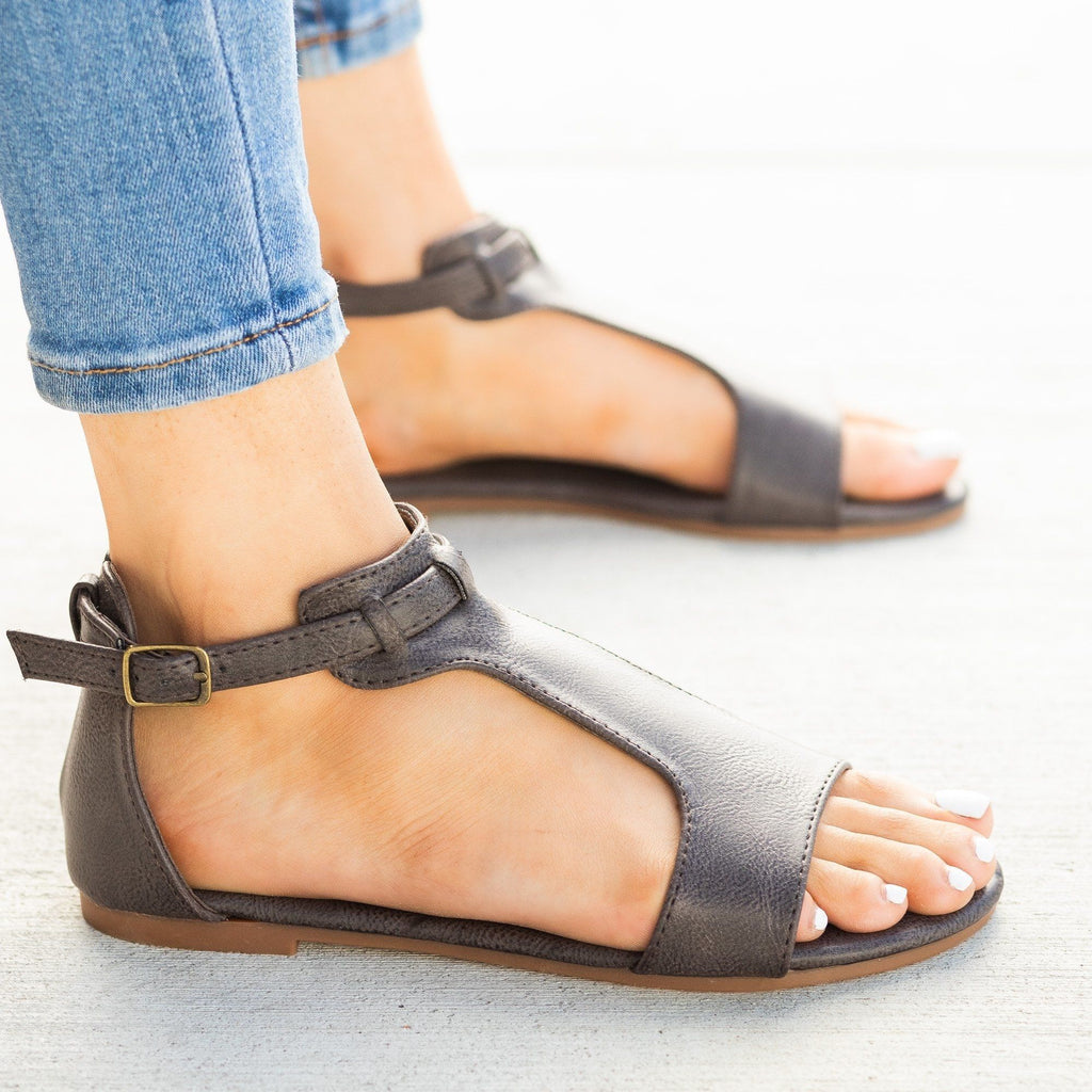 Womens Thick T-Strap Fashion Sandals - Mata