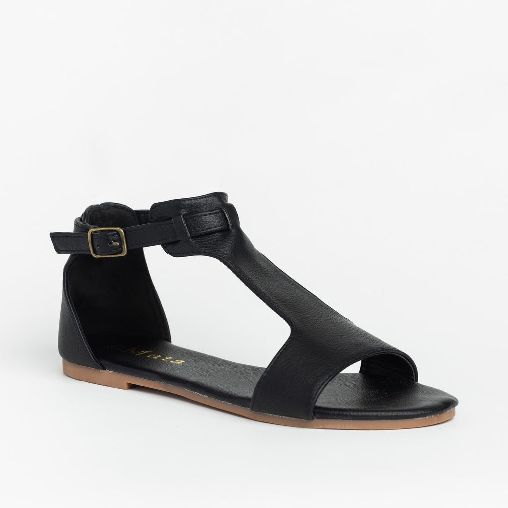 Womens Thick T-Strap Fashion Sandals - Mata - Black / 5