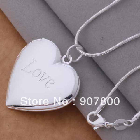 Silver photo frame Heart Pendant Necklace Fashion Jewelry classic Valentine's Day gift Top quality - babiesrhere