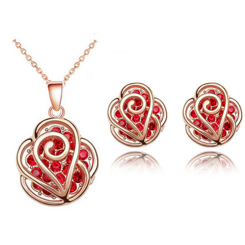 Valentines day gift ROSE gold color flower red Pendant Necklace earrings jewelry sets - babiesrhere