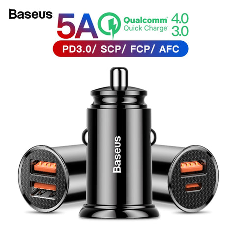 USB Car Charger For Xiaomi mi 9 Huawei P30 Pro QC4.0 QC3.0 QC 5A Fast PD Car Phone Charger - babiesrhere