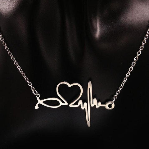 Valentine's Day Gift Heartbeat Statement Necklace For Women Heart Necklaces Pendant Jewelry - babiesrhere