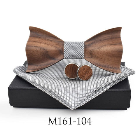3D Wooden Bow Tie & Cufflinks Set - AwesomeIWantThat.com