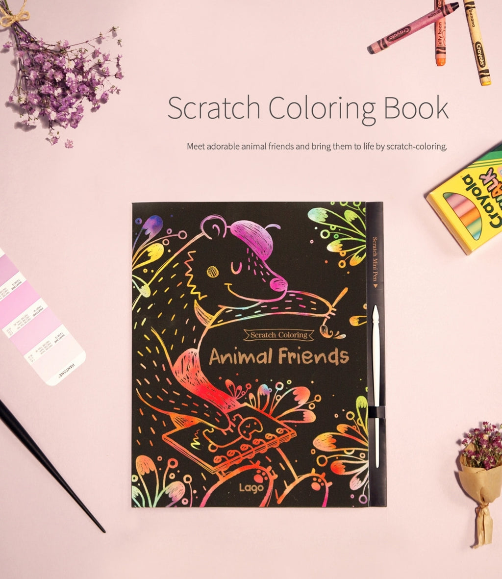 Scratch Coloring Book - Animal Friends
