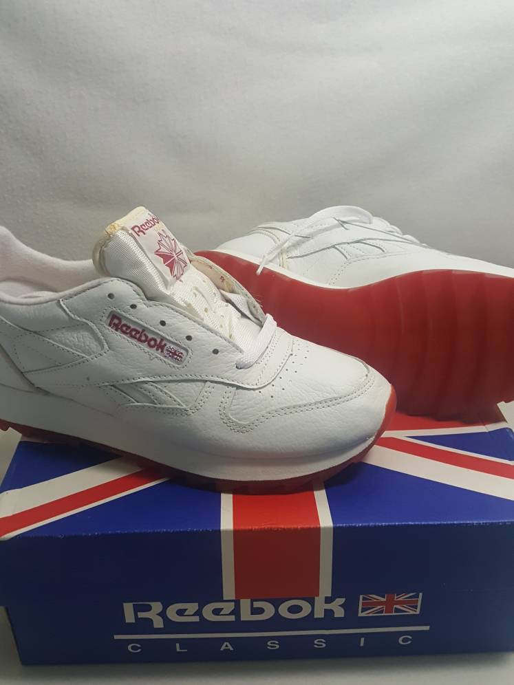 Vtg 90s Reebok Classic Ripple  Low White Flash Red Shoes US Sz 9 UK 6.5