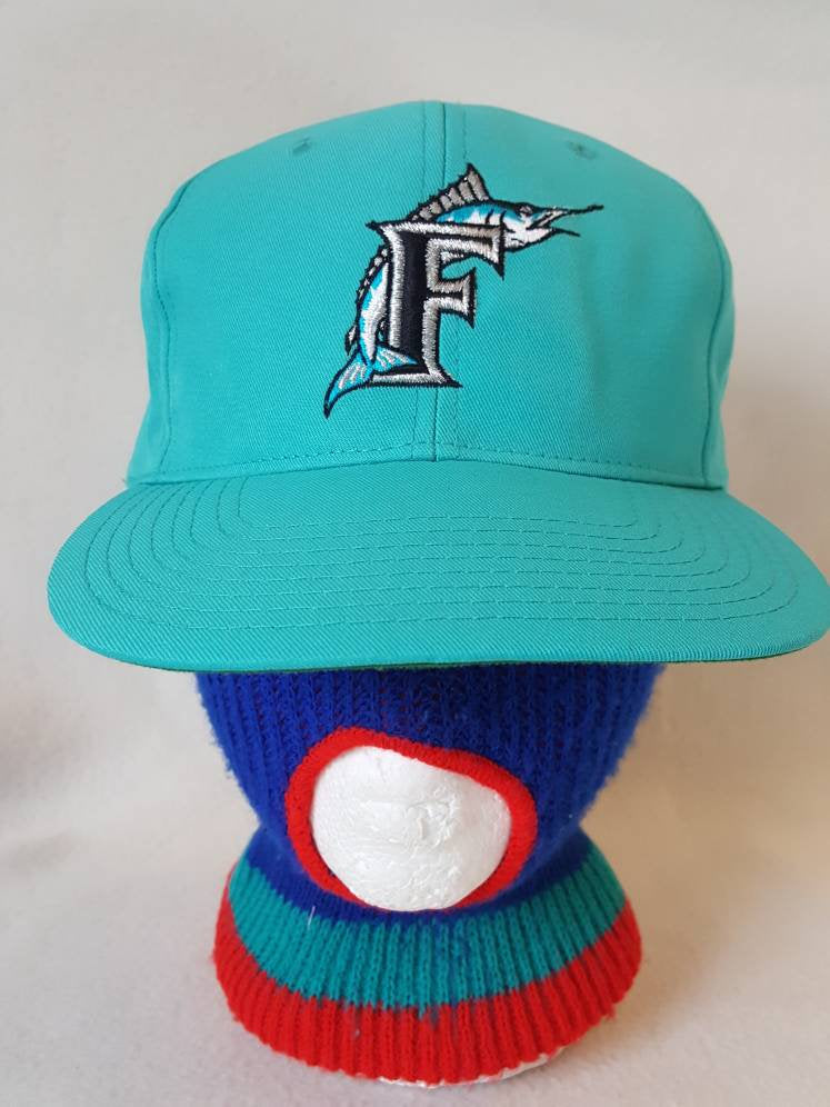 Vtg  Florida Marlins  Teal Twins snapback hat cap MLB baseball