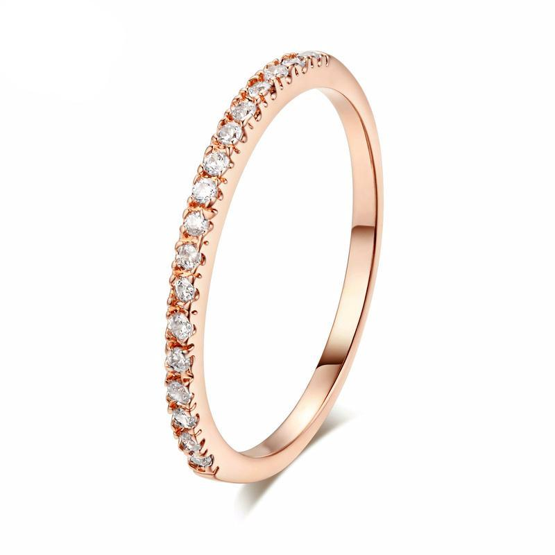 Classic Zirconia Rose Gold Ring