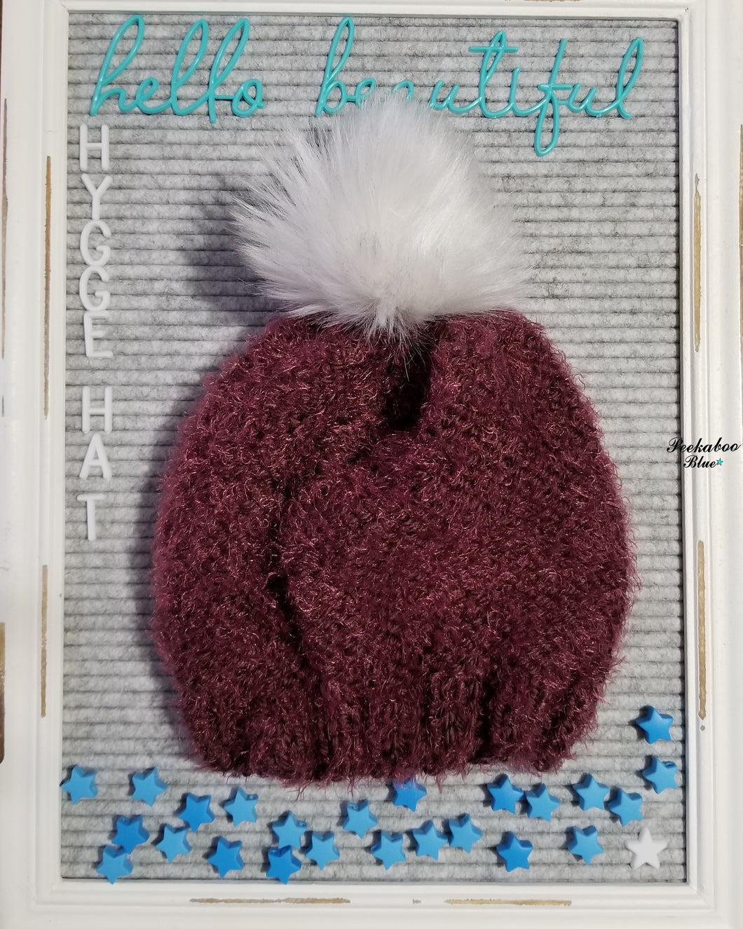 Wine Hygge Hat with White Faux Fir Pom