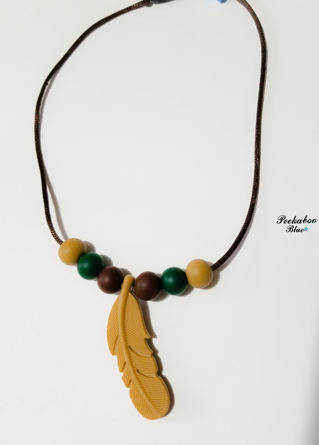 Camo Silicone Feather Teething Necklace