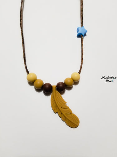 Desert Camo Silicone Feather Teething Necklace