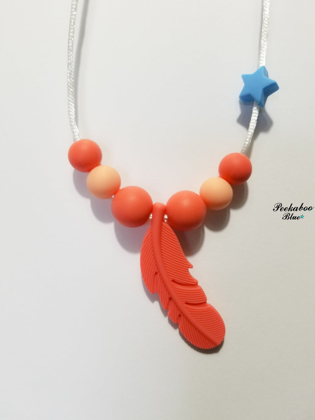 Coral Silicone Toddler Teething Necklace
