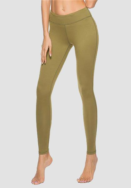 Skinny Fitness Leggings mit Tasche am Bund-Long Leggings-2UBest.com-Green-XL-2UBest.com