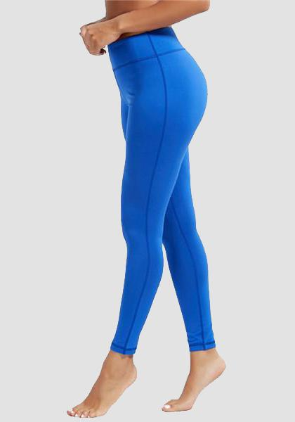 Skinny Fitness Leggings mit Tasche am Bund-Lange Leggings-2UBest.com-Brilliant Blue-XXL-2UBest.com
