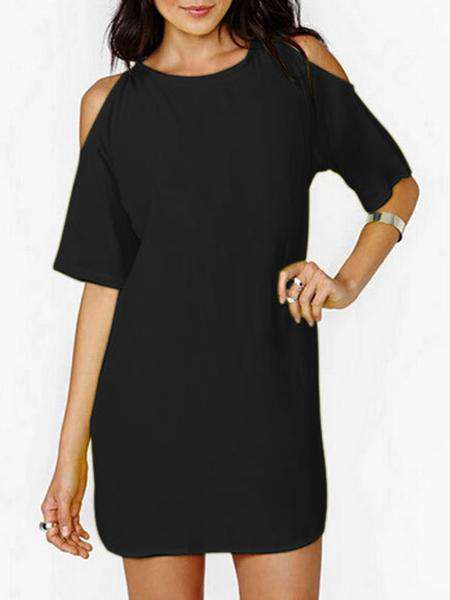 O-Neck Solid Color Kleid