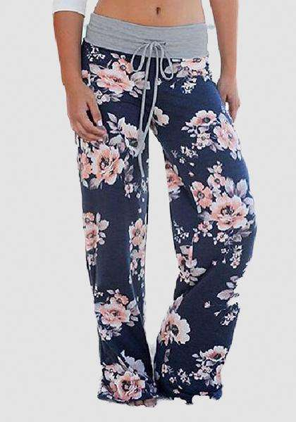 Relaxed Loose Baggy Floral Printed Pants-Long Leggings-2UBest.com-Blue / Pink-S-2UBest.com