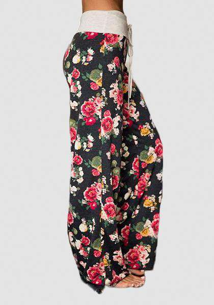 Relaxed Loose Baggy Floral Printed Pants-Long Leggings-2UBest.com-Dark / Red-S-2UBest.com